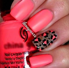 Matte Summer Pink with an Animal Print Detail Nail Designs http://www.mkspecials.com/