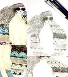 Ilustração Bruna Ribeiro - On my way - detalhes www.brunaribeiro.com/blog