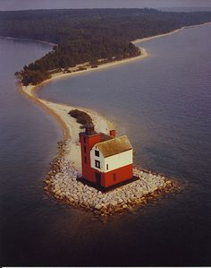 Round Island Lighthouse, Straits of Mackinac, Michigan, USA