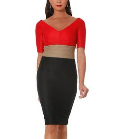Love this Red & Black Color Block Sheath Dress by NUE by Shani on #zulily! #zulilyfinds