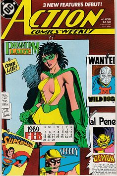 Action Comics Weekly #636 featuring the Phantom Lady, 1989! Available for sale on my eBay! Also up for grabs: my superheroine comic collection (70's-80's stuff), random Radio Comix books and more rare anime cels! My house is super small, and I am...