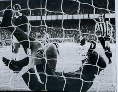 20 August 1974 Joe Royle nets from the penalty spot  for his 100th goal for the club as he scores against Stoke