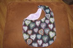 Special Needs Child Bib Valentines Day Child bib Reversible Flannel Terry Cloth bib Lined with batting Snaps Child Drool bib Colored Hearts by NammersCrafts on Etsy