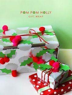 Make your own pom pom holly Christmas gift wrap