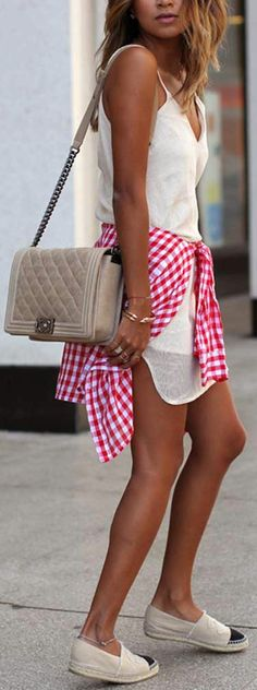 Espadrille flat + gingham. // perfect summer style