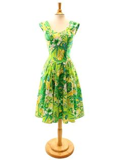 Royal Hawaiian Creations Sundress   Tropical Plumeria Green  for Hawaiian  Luau Party and Tropical bc5a9a76b811