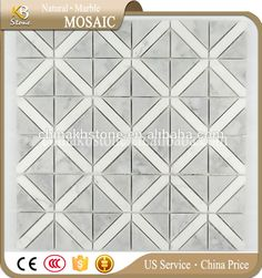 Grey triangle mixed white marble mosaic tile flooring tile Marble Mosaic, Mosaic Tiles, Tile Flooring, White Marble, Triangle, Grey, Crafts, Mosaic Pieces, Gray