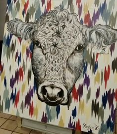 White bull on chromatic strokes canvas by Lezley Lynch Designs, Edmond, OK in collaboration with designer Ronette Wallace.