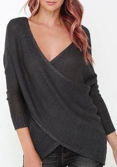 Black Plain Asymmetric Shoulder Long Sleeve Streetwear Acrylic Pullover Sweater