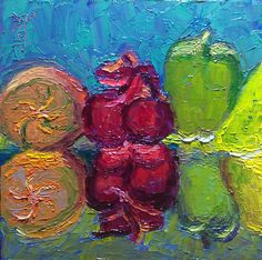 """30 Paintings in 30 days: Day 24: """"Reflections - Jolly Rancher Gummies - 1"""", 6 x 6 inches, Oil on Canvas Panel Available here: https://www.etsy.com/shop/preranap Happy New Year Everyone!"""