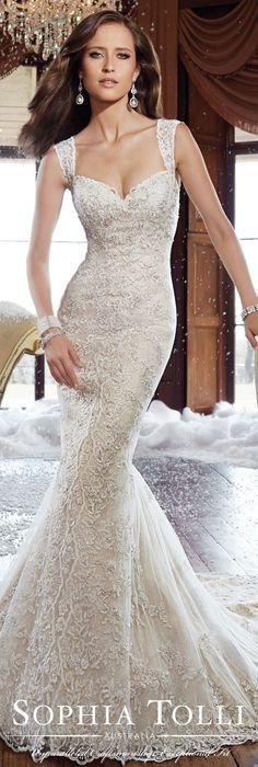 The Sophia Tolli Fall 2015 Wedding Dress Collection - Style No. Y21515 sophiatolli.com #laceweddingdress @moncheribridals