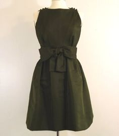Moss green cocktail dress by Chester Weinberg