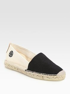 Tory Burch Two-Tone Espadrille Canvas Slides