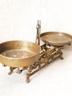 Antique Cast Iron Scale w/ Brass Plates / Scale / by wilshepherd, $140.00