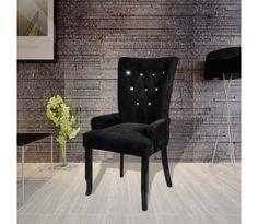 Fotelis, Valgomojo Kėdė, Juodas Medis, Juodas Aksomas black modern chair dining