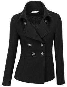 11ce42b270e5d Amazon.com  Doublju Women s Double Breasted Pea Coat Jacket  Clothing Coats  For Women