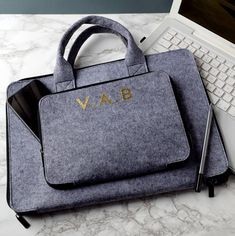 personalised grey laptop/tablet briefcase by the alphabet gift shop | notonthehighstreet.com