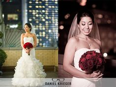 A bride and her bouquet on the Solarium Terrace at the 3 West Club. Photography by Daniel Krieger.