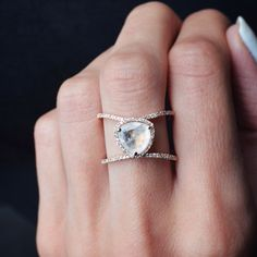 14kt rose gold and diamond Petite Triangle Double Band Moonstone ring – Luna Skye by Samantha Conn