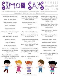 FREE Printable to Help Keep Kids Healthy & Active, FREE Printable to Help Keep Kids Healthy & Active Simon Says Active Kids FREE printable activity for healthy kids Simon Says Active Kids FREE printabl. Circle Time Activities, Movement Activities, Craft Activities For Kids, Learning Activities, Toddler Activities, Preschool Activities, Yoga For Kids, Exercise For Kids, Simon Says