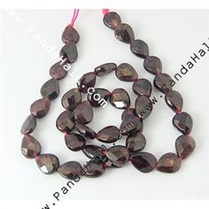 Garnet, vertical drilled, faceted, 10x8x4mm.  5 strands (39 beads/strand) for $35.85.