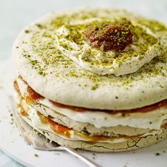 Pistachio meringue and apricot layer cake | This dessert is a heavenly combination of crisp yet chewy meringue and sweet apricot compote.