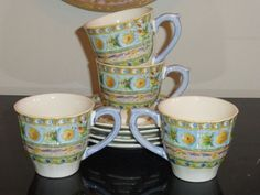 Gien France Raphael Cups and Saucers Set of 4 Cup And Saucer Set, Tea Cups, Pottery, France, Mugs, Tableware, Ebay, Ceramica, Dinnerware
