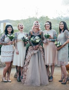 Vera Wang wedding dress + mismatched neutral bridesmaid dresses
