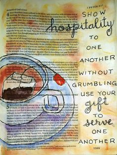 1 Peter 4:9 Tea and hospitality watercolor painting - Bible art journaling by @peggythibodeau www.peggyart.com