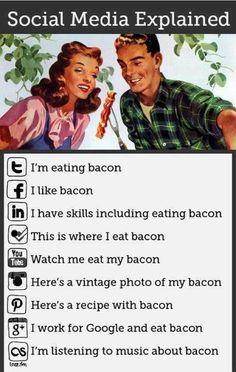 Social Media Explained Simply Using Bacon [infographic]. Bacon makes everything better - even explainations of social media . Social Media Humor, Le Social, Social Media Tips, Marketing En Internet, Social Media Marketing, Social Networks, Marketing Digital, Social Media Explained, La Red