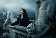 Angelina Jolie on a gothic style building