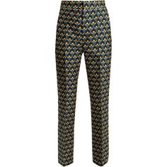 Marni Portrait-print cotton-blend cropped trousers ($1,075) ❤ liked on Polyvore featuring pants, capris, green print, marni trousers, marni, tailored pants, cropped trousers and patterned pants