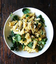 Pin for Later: 17 Easy, Egg-cellent Meal Ideas Campanelle Pasta With Hard-Boiled Eggs, Capers, and Watercress A posh egg and watercress sandwich meets pasta in this hearty bowl of campanelle. Watercress Recipes, Capers Recipes, Easy Egg Recipes, Pasta Recipes, Healthy Recipes, Vegetarian Recipes, Hard Boiled, Boiled Eggs, Salads