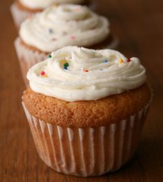 Easy One Bowl Vanilla Cupcakes - flour - sugar - shortening - milk - vanilla or almond extract - 2 large eggs -