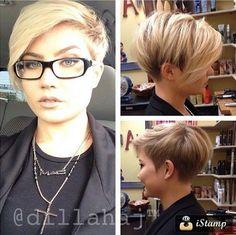 short hairstyle, long bangs, trendy, blond short hair ladies 2015