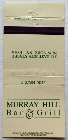 Murray Hill #matchbook - To design & order your business' own logo #matches GoTo: GetMatches.com #phillumeny