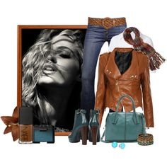 Brown and teal fall outfit