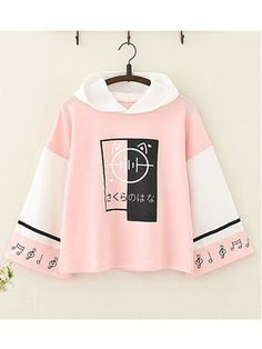 Musical Note Printed Color Block Hoodie - Nail Tutorial and Ideas Anime Outfits, Girl Outfits, Fashion Outfits, Fashion Clothes, Kawaii Fashion, Cute Fashion, Mode Kawaii, Vetement Fashion, Loose Shirts