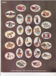Design chart for DIY Christmas ornaments. Kount on Kappie 71 Put Your Heart in Country Cross Stitch Design Booklet Mini