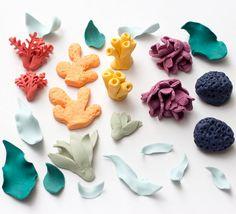 Fondant coral and seaweed Set of 24 by SeasonablyAdorned on Etsy