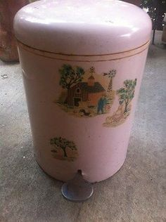 Vintage Retro Shabby Pink Metal Trash Can