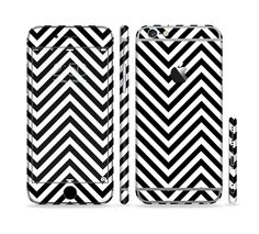 The Black & White Sharp Chevron Pattern Sectioned Skin Series for the Apple iPhone 6/6s Plus