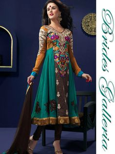 Brown, Deep Orange, and Teal Blue Salwar Kameez-Look at the embroidery! Indian Anarkali Dresses, Anarkali Tops, Anarkali Frock, Ethnic Fashion, Indian Fashion, Salwar Kameez, Designer Dresses, Fashion Outfits, Trending Outfits
