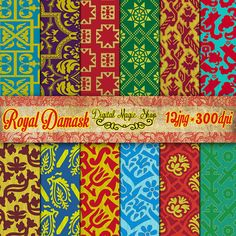 Digital Paper Pack Renaissance Royal Damask   12 pcs 300dpi paper by DigitalMagicShop, $2.50