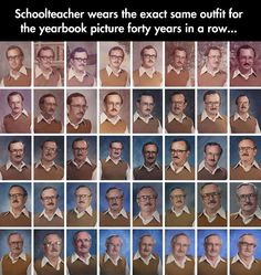 Same Outfit For 40 Years.... Except he loses points for switching up those glasses XD