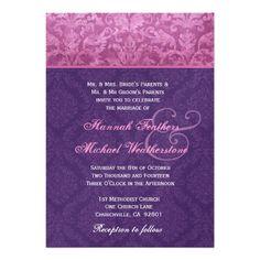 Pink and Purple Damask Wedding Metallic Personalized Invitations #pink #purple #wedding #metalilic #invitations http://www.zazzle.com/pink_and_purple_damask_wedding_metallic_invitation-161087021323796388