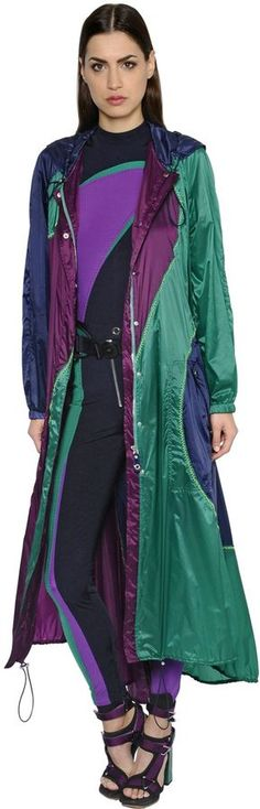 Versace Hooded Nylon Trench Coat $2,375 At Luisaviaroma Light drawstring hood pockets zip snap  https://api.shopstyle.com/action/apiVisitRetailer?id=613001544&pid=uid841-37799971-81