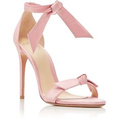 Alexandre Birman M'O Exclusive Clarita Satin Sandals ($595) ❤ liked on Polyvore featuring shoes, sandals, pink, ankle strap shoes, ankle wrap shoes, ankle tie sandals, red ankle strap sandals and satin shoes