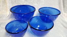 Vintage Arcoroc France Cobalt Blue Glass Mixing Bowls 4 -Piece Nesting Set  #Arcoroc