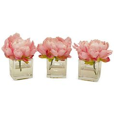 """6"""" Peonies in Cubes - Faux Set of 3 Arrangements (18.135 HUF) ❤ liked on Polyvore featuring home, home decor, floral decor, decorative accessories, flower home decor, pink home decor, flower stem and floral home decor"""